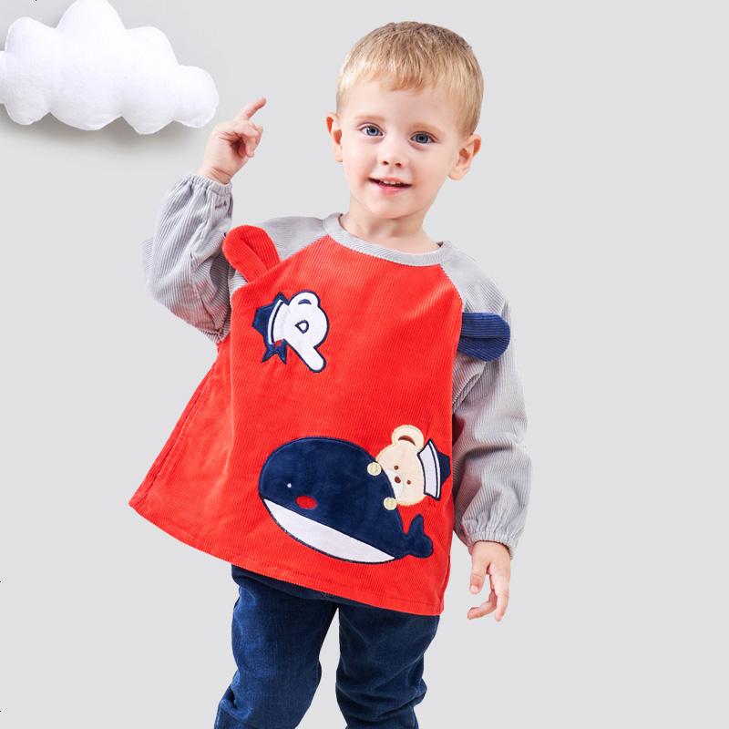 男童学生宝宝女生吃饭衣防水纯棉秋冬围兜防脏罩衣女孩萌动漫图片图片
