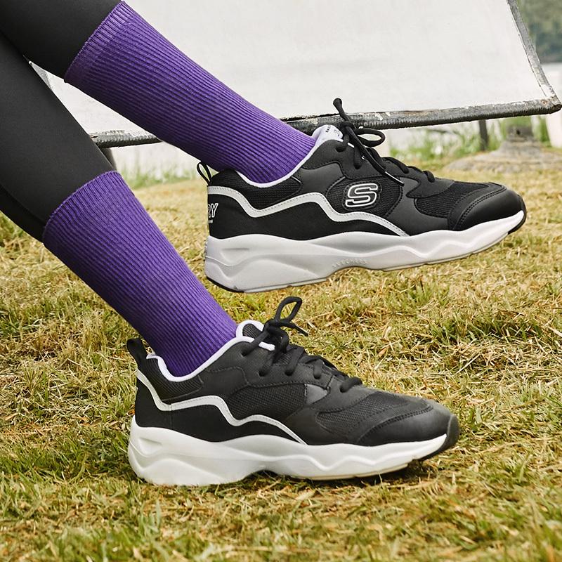 Skechers斯凯奇校园风耐磨轻便透气减震休闲鞋厚底增高熊猫鞋老爹鞋女 66666231