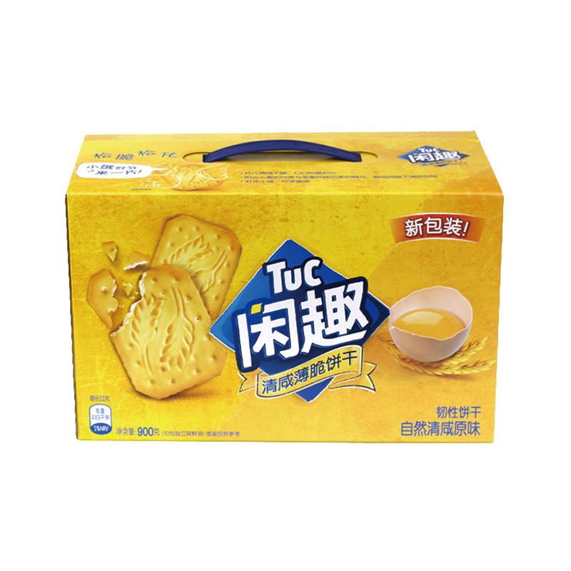 闲趣韧性饼干(自然清咸原味)900g/盒苏打休闲零食盒装