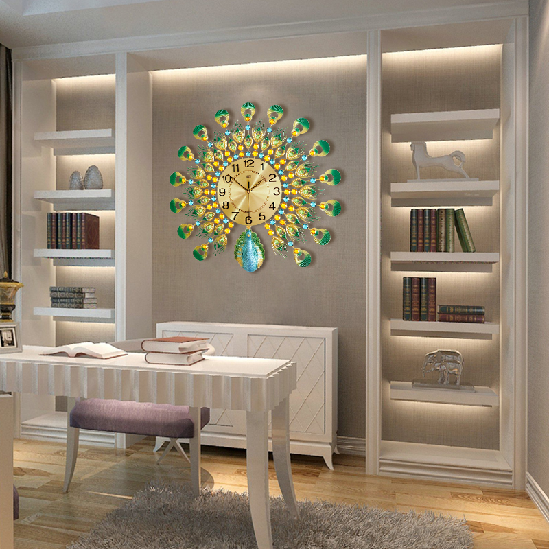 欧式立体树脂孔雀挂钟创意个性装饰客厅钟表时尚现代静音时钟顺喜 Shun Xi