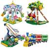 星堡积木XINGBAO创意游乐场塑料小颗粒拼装儿童积木玩具6岁以上 游乐场4件套B款