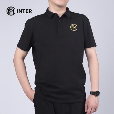 国际米兰夏季新款商务系列黑色POLO衫简约纯色翻领舒适透气运动短袖