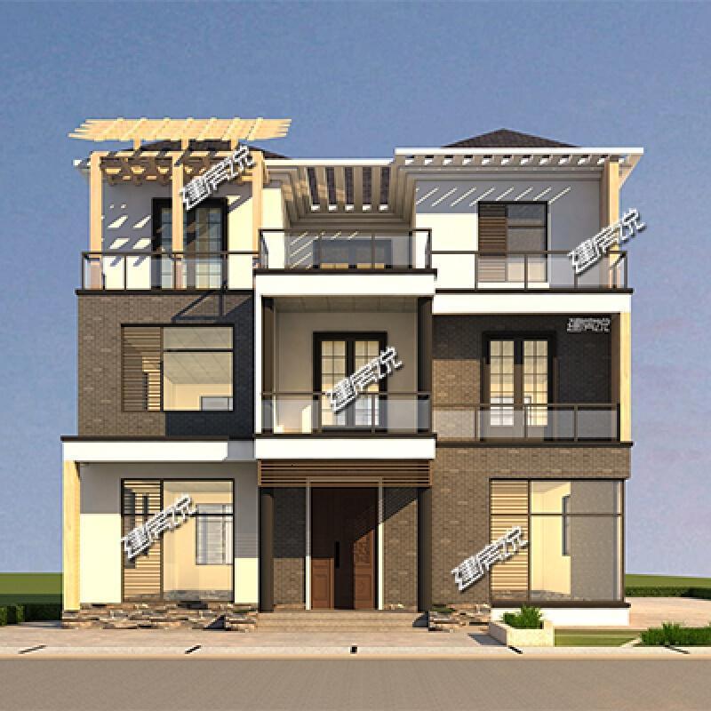 别墅设计全套三层现代简约图纸自建房童装服装设计_农村设计图片