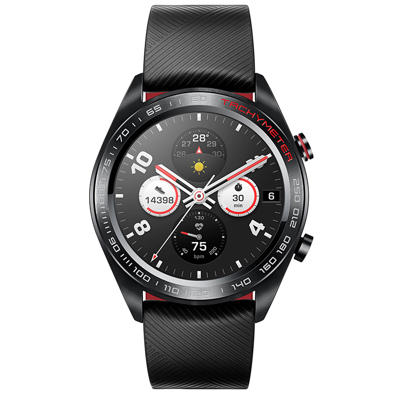 华为/荣耀(HONOR) Magic Watch 时尚智能户外运动手表 熔岩黑(实时心率监测+多场景运动模式+50米防水+AMOLED高清彩屏+7天长续航+NFC支付)