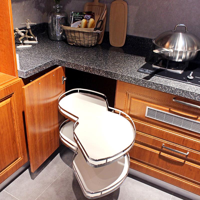 尚品宅配 整体橱柜定制 实木风厨柜 石英石台面L型厨房定制橱柜 【预付金】非商品价格