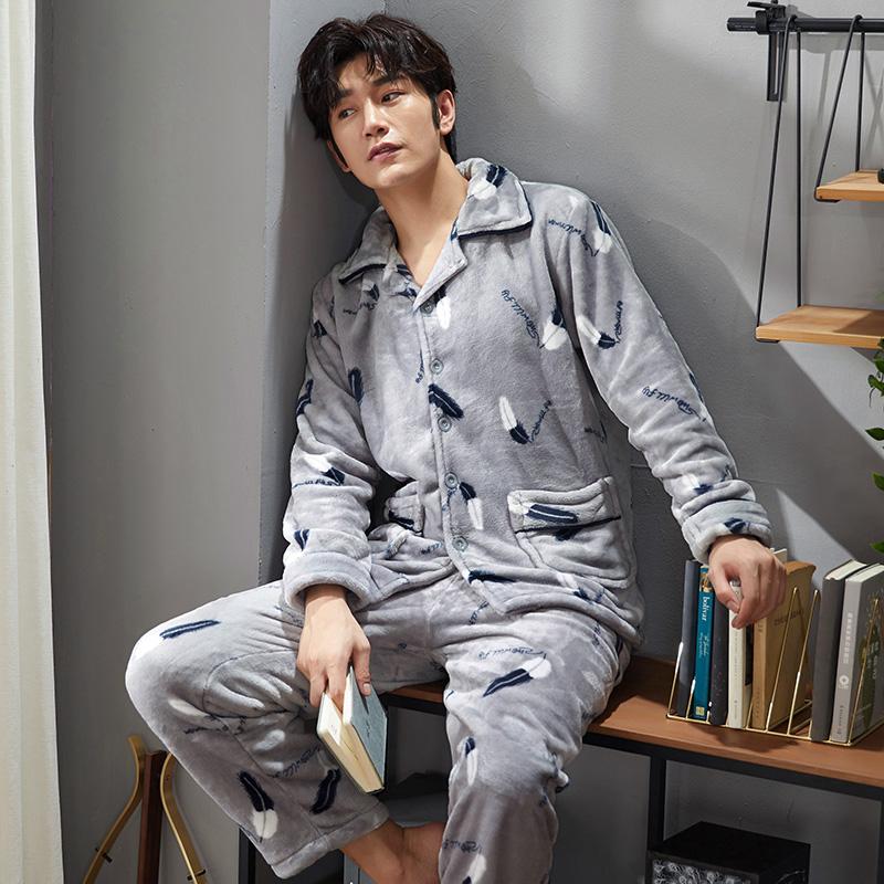 月脚迹(YueJiaoYin)寝衣男冬季珊瑚绒加厚加绒青年