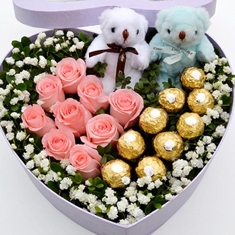 【知恩】9枝戴安娜玫瑰9颗费列罗礼盒