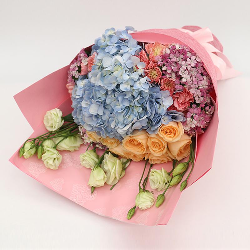 【不离不弃】蓝色绣球精美花束