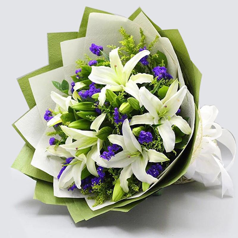 【回归幸福】5枝多头白百合花束
