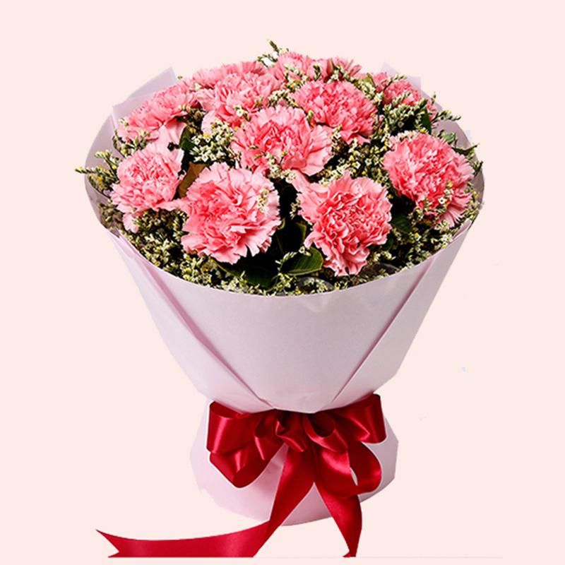 【幸福美满】11枝粉色康乃馨花束