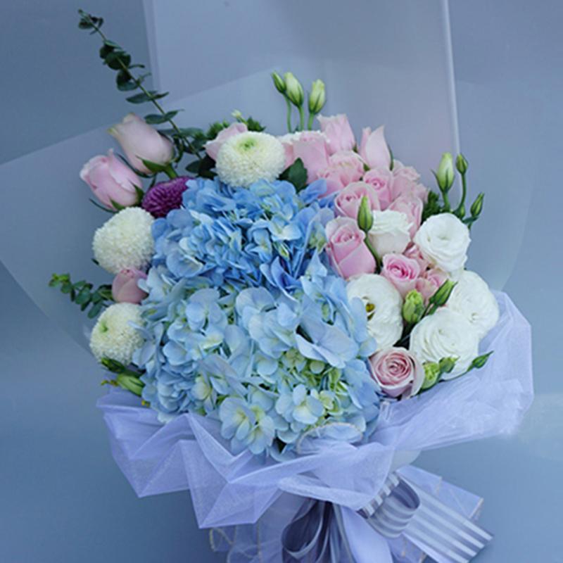 【甜蜜の愛】藍繡球玫瑰精美花束
