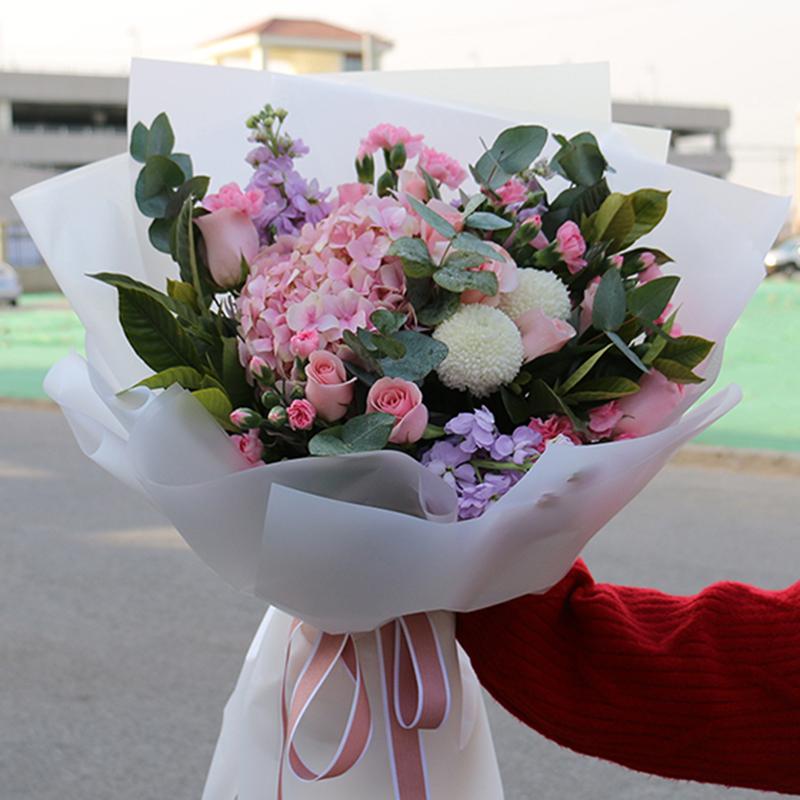 【蒲公英的约定】粉色绣球精美花束