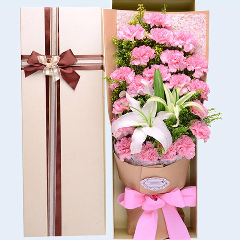 【感恩有您】19枝粉色康乃馨白百合禮盒