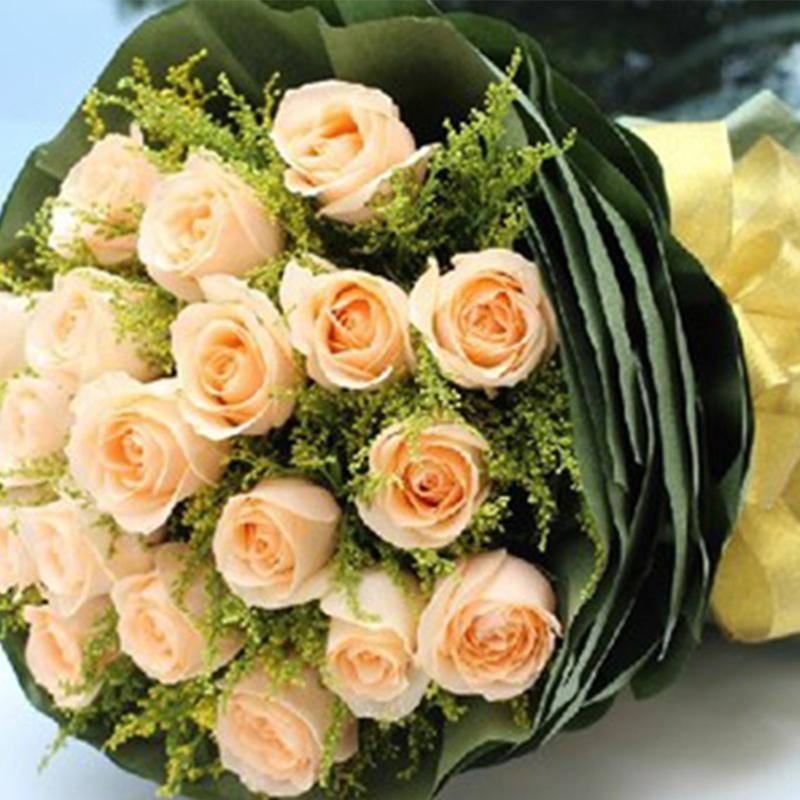 【只爱你一人】19枝香槟玫瑰花束