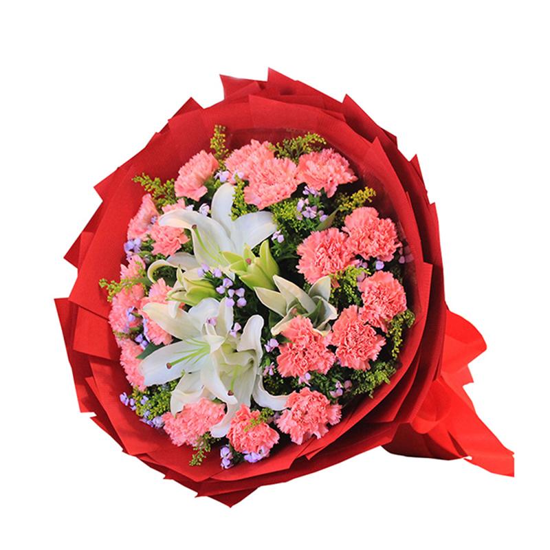 【爱的彼岸】19枝粉色康乃馨百合花束