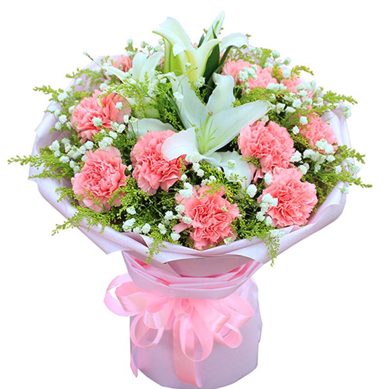 【妈妈の吻】11枝康乃馨百合花束