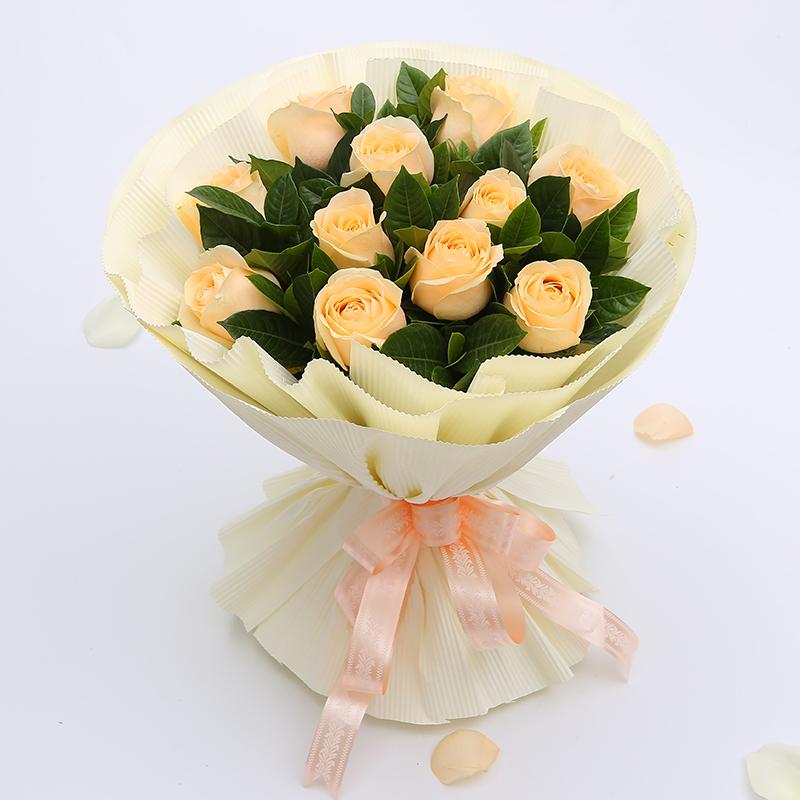 【暖暖的爱你】11枝香槟玫瑰