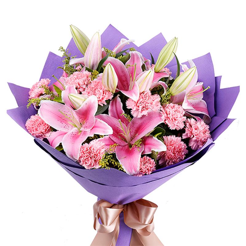 【烛光里的妈妈】16枝粉色康乃馨百合花束