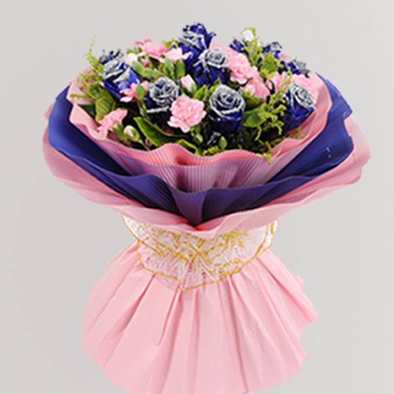 【愛深似海】11枝藍色妖姬粉色多頭康花束A款