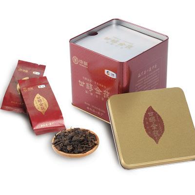中茶湖南安化黑茶手筑茯砖茶 甘醇金茯182g铁罐装