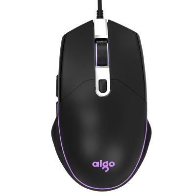 Aigo/爱国者G600有线鼠标USB接口办公游戏鼠标 四档六键四色呼吸灯 手感舒适 黑色