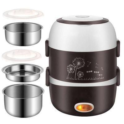 电热饭盒黄金蛋保温可插电加热自热饭盒保温桶上班族热饭便携便当盒 咖啡色
