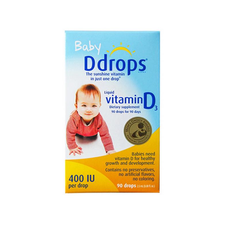 baby Ddrops 婴儿维生素D3滴剂 400IU 90滴/瓶装 原装进口 0-2岁