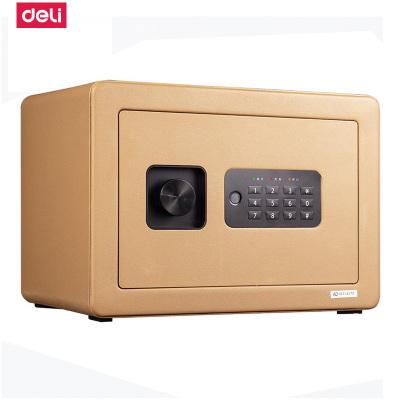 得力deli33515家用小型迷你保管箱办公电子密码钥匙安全防盗隐藏保管入墙金色