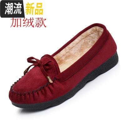 平底女鞋圆头软底黑色保暖加绒工作鞋豆豆鞋秋冬女棉鞋 广赫