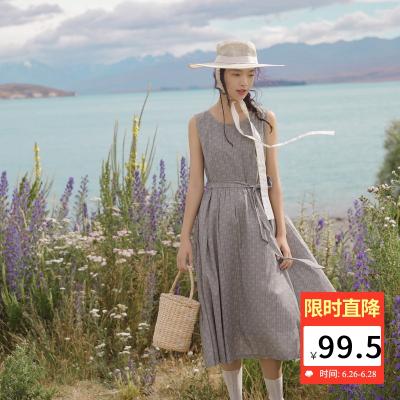 限尺码 !茵曼 1892103821 圆领无袖连衣裙 99.5元包邮(下单5折)