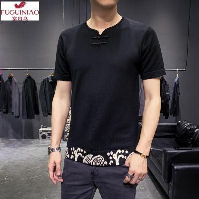 富贵鸟(FUGUINIAO)时尚新款个性 中国风 中式国潮盘扣男士简约圆领帅气提花针织衫短袖毛衣