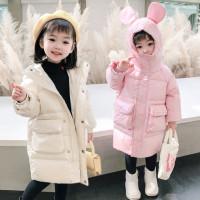 冬季新款兔耳朵女童棉衣羽绒棉 棉服儿童中长款中小童棉衣潮保暖冬款