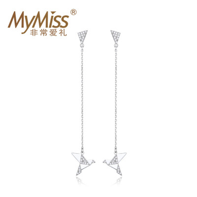 MyMiss 非常爱礼 925银镀铂金千纸鹤耳钉 69元包邮(需用券)