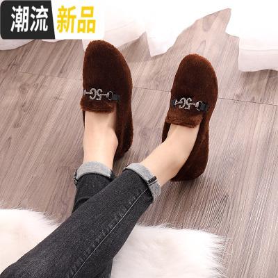 秋冬款女豆豆鞋百搭加绒保暖棉鞋女鞋网红外穿时尚一脚蹬女毛毛鞋 广赫