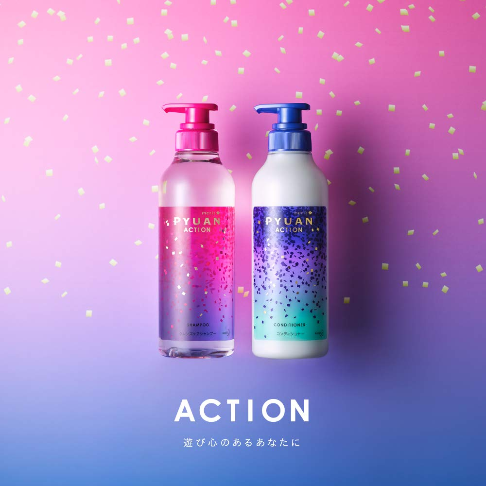 (KAO-288)  KAO - #柑橘&向日葵 Merit Pyuan Action 洗髮水(桃紅) 425ml