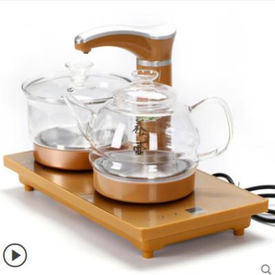 纳丽雅(Naliya)喝茶烧水一体机全自动上水电茶炉功夫茶具茶盘套装配件四合一快速炉电磁炉壶 双玻璃全自动电热水壶