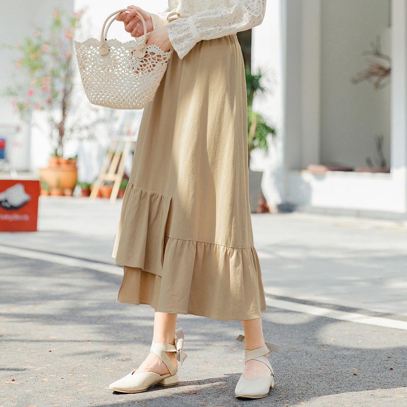 茵曼 1801180 不规则下摆时尚半身裙