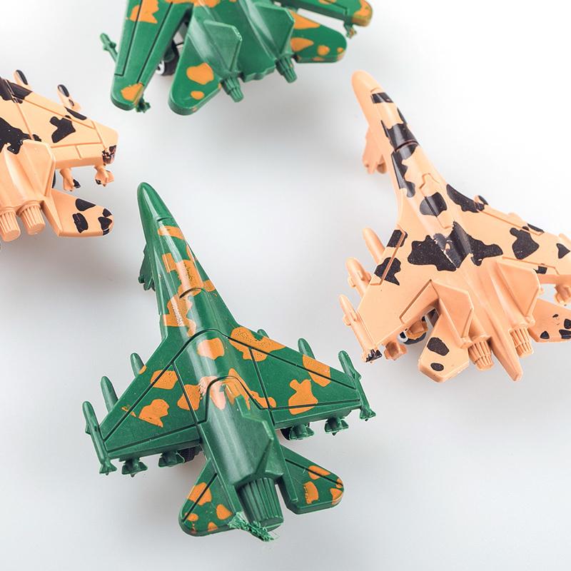 4只装 儿童卡通战斗机小飞机套装 儿童仿真战斗机模型玩具 实色飞机