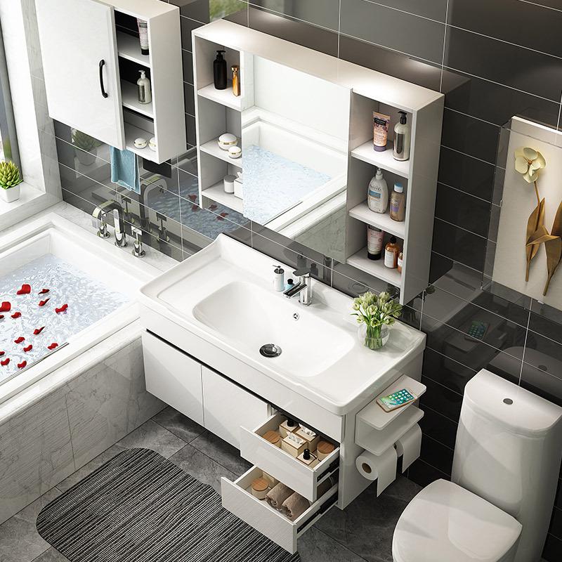 UNILER/联勒橡胶木/实木浴室柜清风款珠光白(80cm) 1288元包邮(需用券)