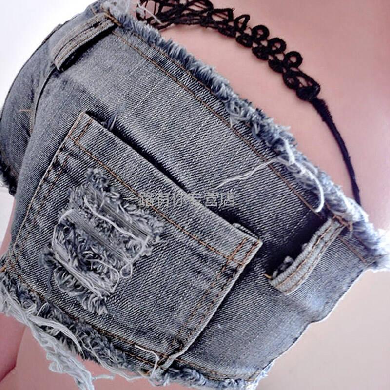 夜店女装低腰破洞毛边超短裤紧身百搭齐臀三角