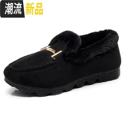 新款冬季棉鞋豆豆鞋加绒韩版百搭女鞋毛毛鞋防滑一脚蹬懒人鞋瓢鞋 广赫