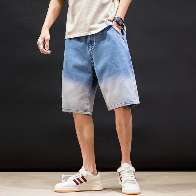 丹杰仕2020夏季新款休闲浅色渐变色牛仔短裤男士宽松大码运动五分裤韩版潮