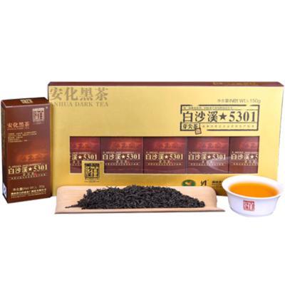 湖南安化黑茶 白沙溪特级料湘尖速泡散茶便携5301芽尖茶150g 特级芽茶原料 便携直泡