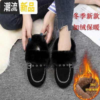 2019冬季新款韩版平底加绒毛毛棉鞋豆豆鞋雪地靴学生一脚蹲女鞋子 广赫