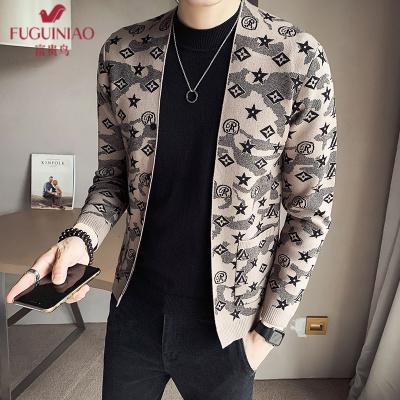 富贵鸟(FUGUINIAO)毛衣男针织衫男青年休闲潮流绣花图案毛线衫外套男士宽松长袖外穿针织男装