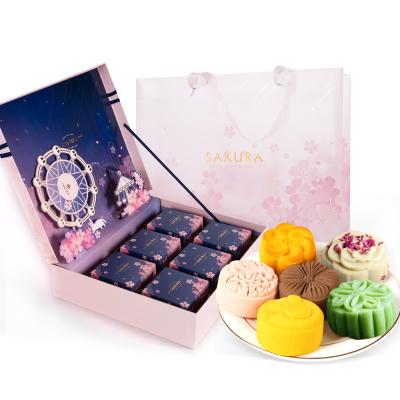 中秋月饼礼盒装樱花高档定制六枚装奶黄流心乳酪玫瑰广式蛋黄莲蓉