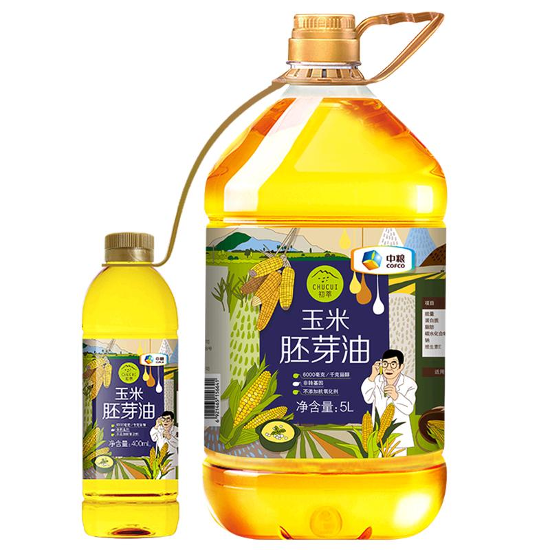 中粮 初萃玉米胚芽油5L+400ml 物理压榨 一级桶装玉米油 非转基因 食用油粮油79.9元