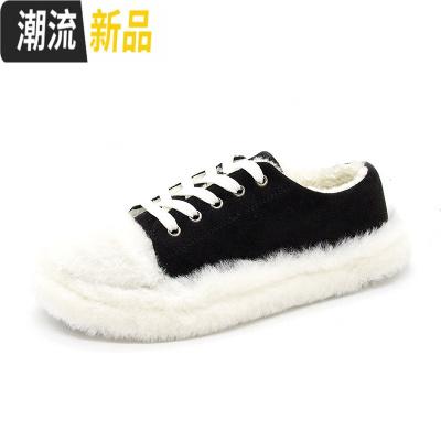 棉鞋女2019新款加绒羊羔毛毛鞋女冬季韩版厚底百搭豆豆鞋网红鞋子 广赫