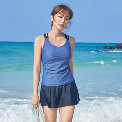 两件套分体裙式平角游泳衣简约固定罩杯聚拢遮肚学生温泉度假泳装