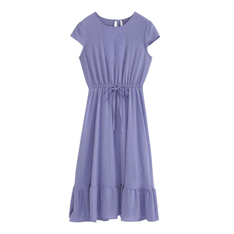 限S码:茵曼 1892102090 荷叶边 连衣裙 *2件 189.4元包邮(双重优惠,合89.7元/件)